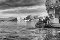 Boarding Le Boréal, anchored off Détaille Island