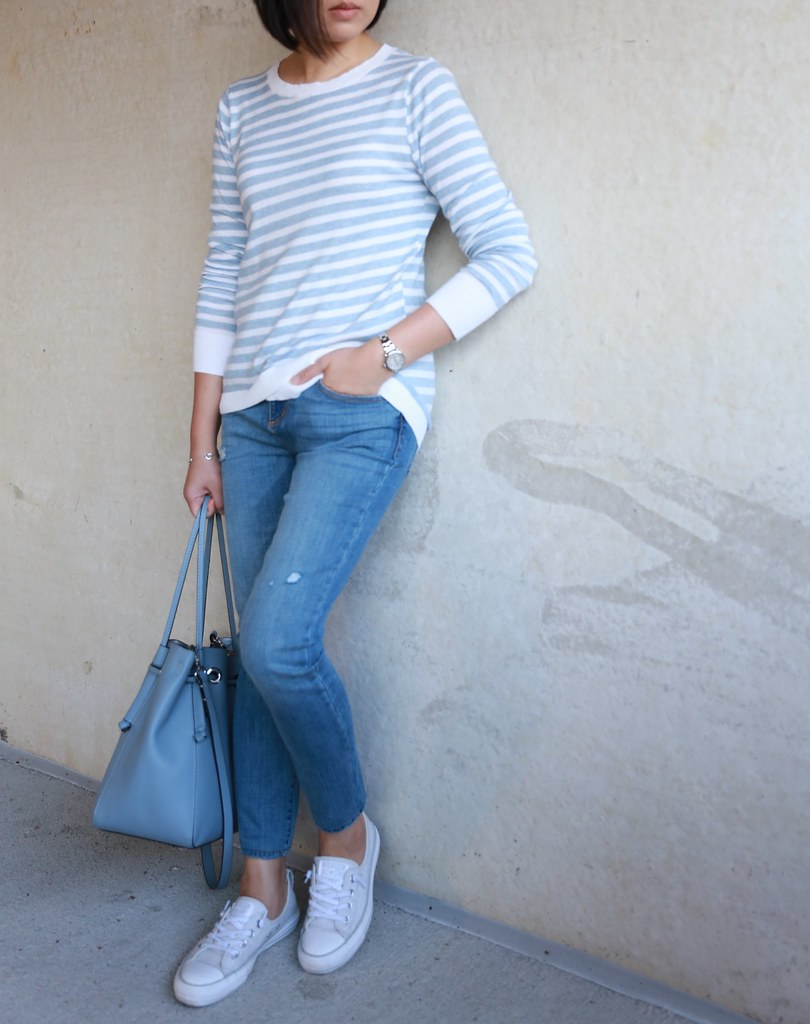 LOFT Striped Crossover Hem Sweater, size XS regular