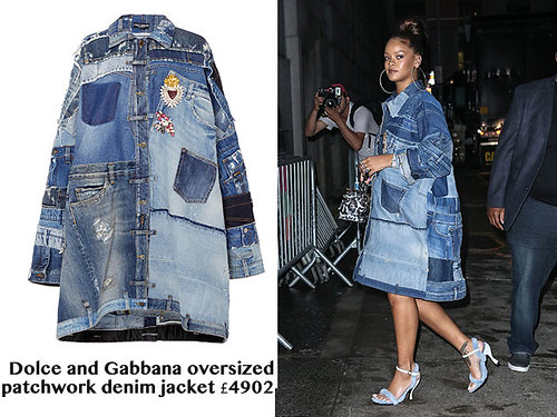 Dolce-and-Gabbana-oversized-patchwork-denim-jacket, cheetah print handbag, Dolce and Gabbana oversized patchwork denim jacket, Rihanna wearing Dolce and Gabbana oversized patchwork denim jacket, Dolce and Gabbana oversized patchwork denim jacket worn as a dress