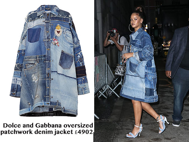 Dolce-and-Gabbana-oversized-patchwork-denim-jacket, leopard print trunk bag by Louis Vuitton,  blue shearling shoes by Nicole Saldana, denim patchwork jacket, baby blue Nicole Saldana shearling sandals, pastel blue Nicole Saldana heels, oversized hoop earrings