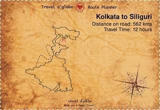 Map from Kolkata to Siliguri