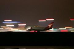 Qantas Boeing 747 -400 rotating nose-up extreme panning somewhat blurred DSC_0309
