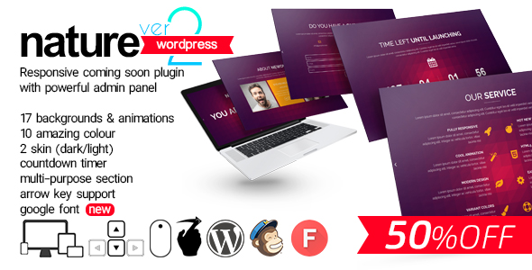 Nature v1.0 – Responsive Coming Soon WP Plugin