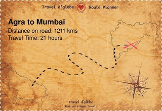 Map from Agra to Mumbai