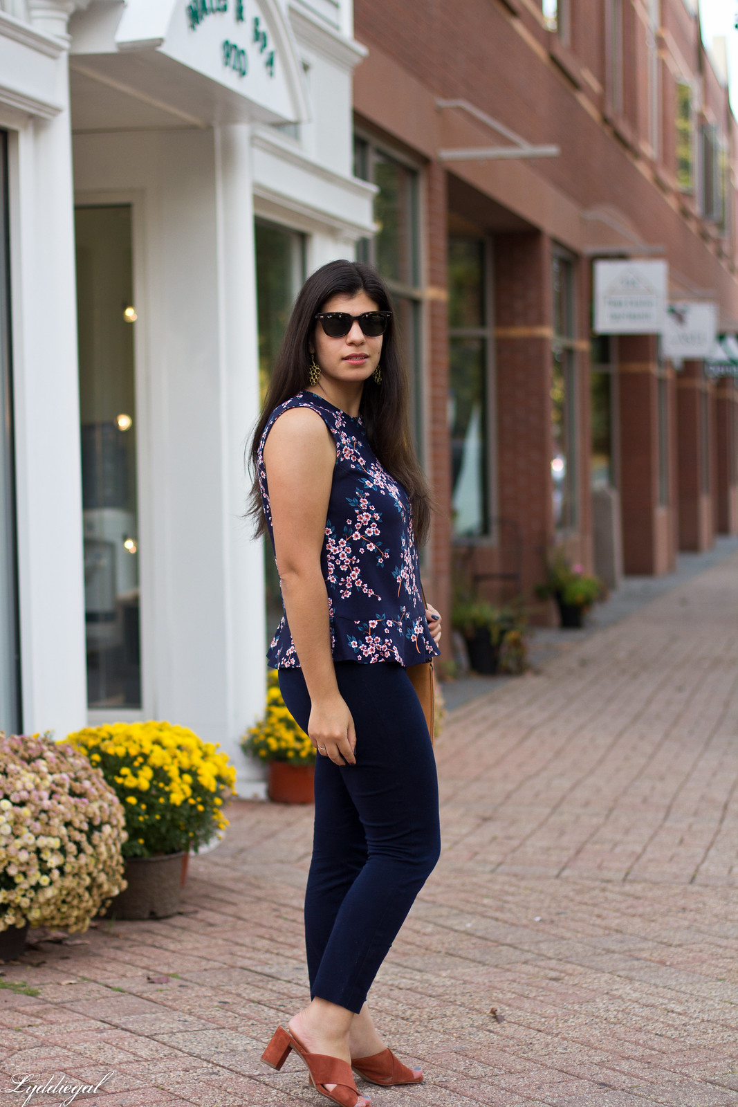 cherry blossom print top, navy pants, rust mules-4