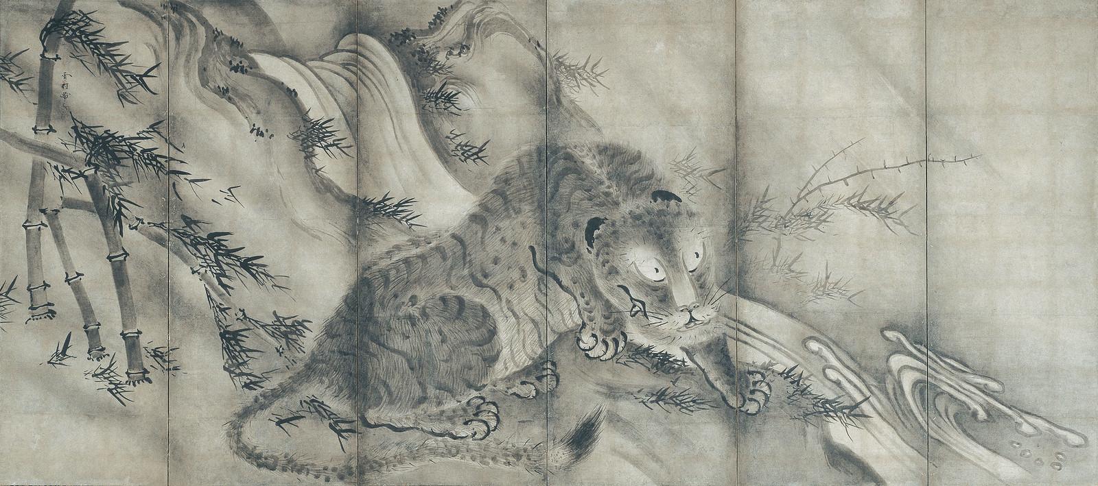 《龍虎図屛風(左隻)》(室町時代、東京・根津美術館、8月22日~)