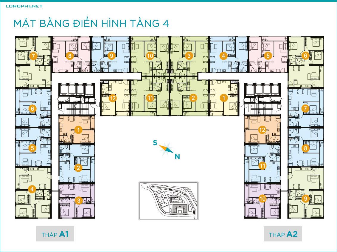 Mặt bằng căn hộ tầng 4 tháp A dự án Lavida Plus quận 7 - Quốc Cường Gia Lai.