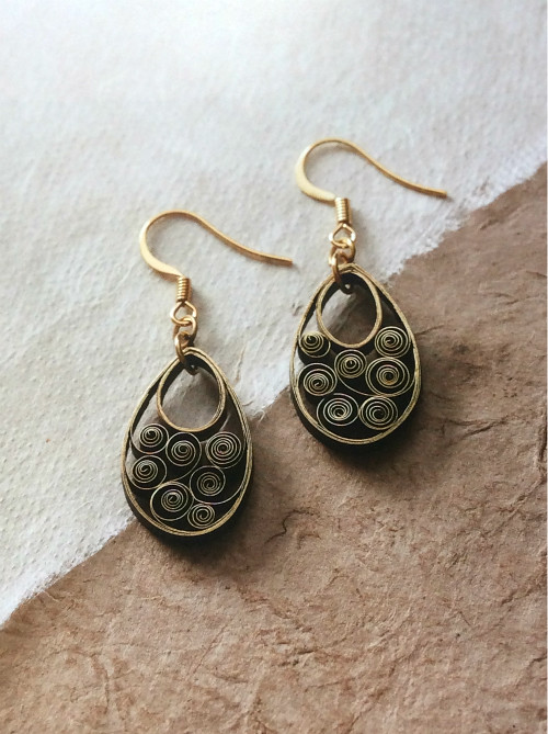 Golden Scroll Earrings from The Art of Quilling Paper Jewelry