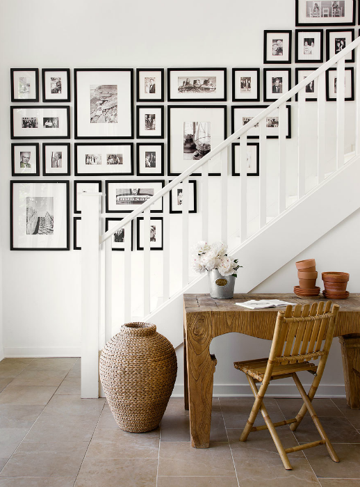 how to choose pictures and arrange them along a staircase wall.