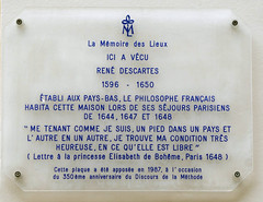 Photo of René Descartes clear plaque