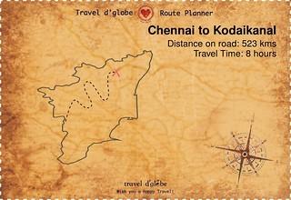 Map from Chennai to Kodaikanal