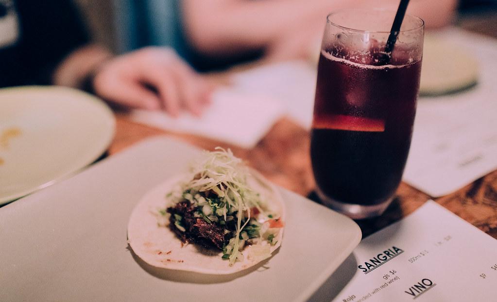 Taco and sangria