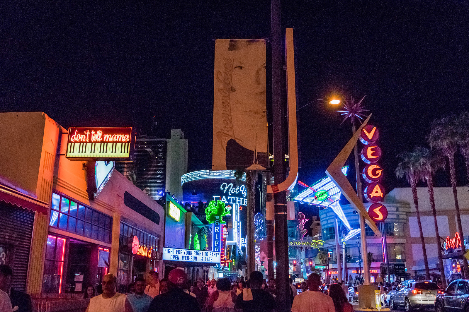 downtown Vegas on a saturday night