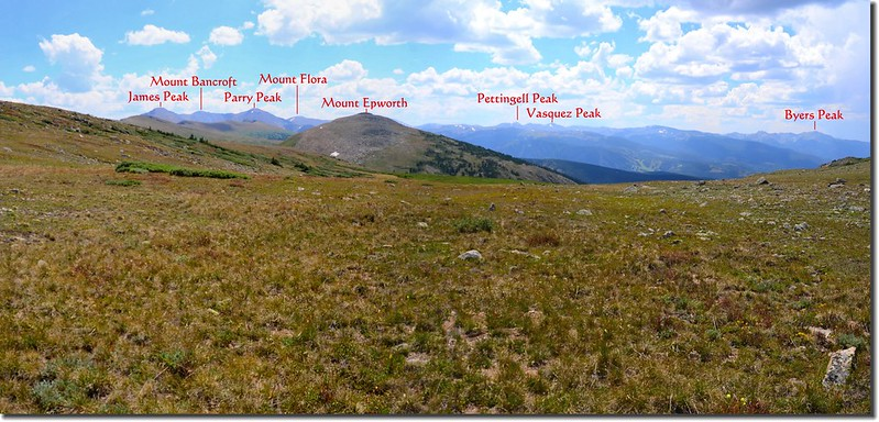 Looking southwest from Continental Divide at James Peak et al. 1-1
