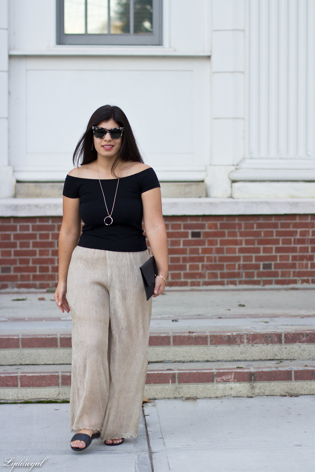off the shoulder tee, shimmer pants, scalloped clutch-2