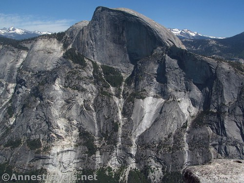 The sheer height of Half Dome from North Dome in Yosemite National Park, California