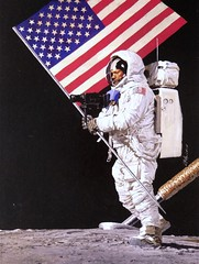 Neil Armstrong on the Moon.  Painting by Louis Glanzman (1969) for Time Magazine