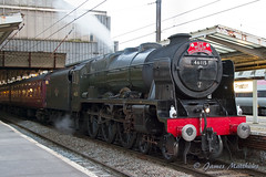 46115 Scots Guardsman pulling The Welsh Mountaineer steam tour seen at Preston station