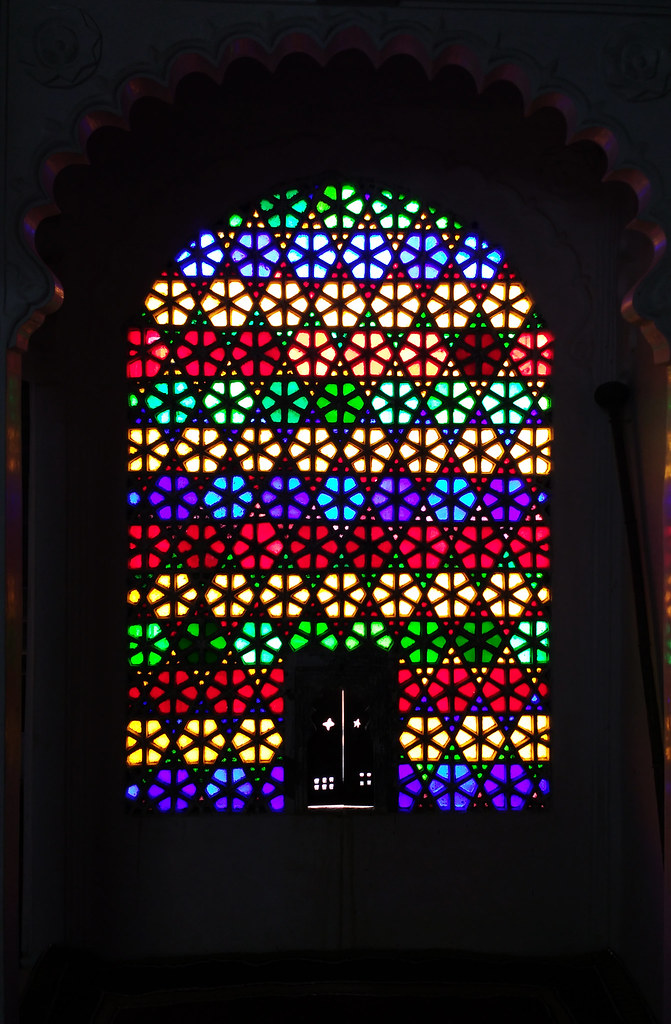 Latticed glass window