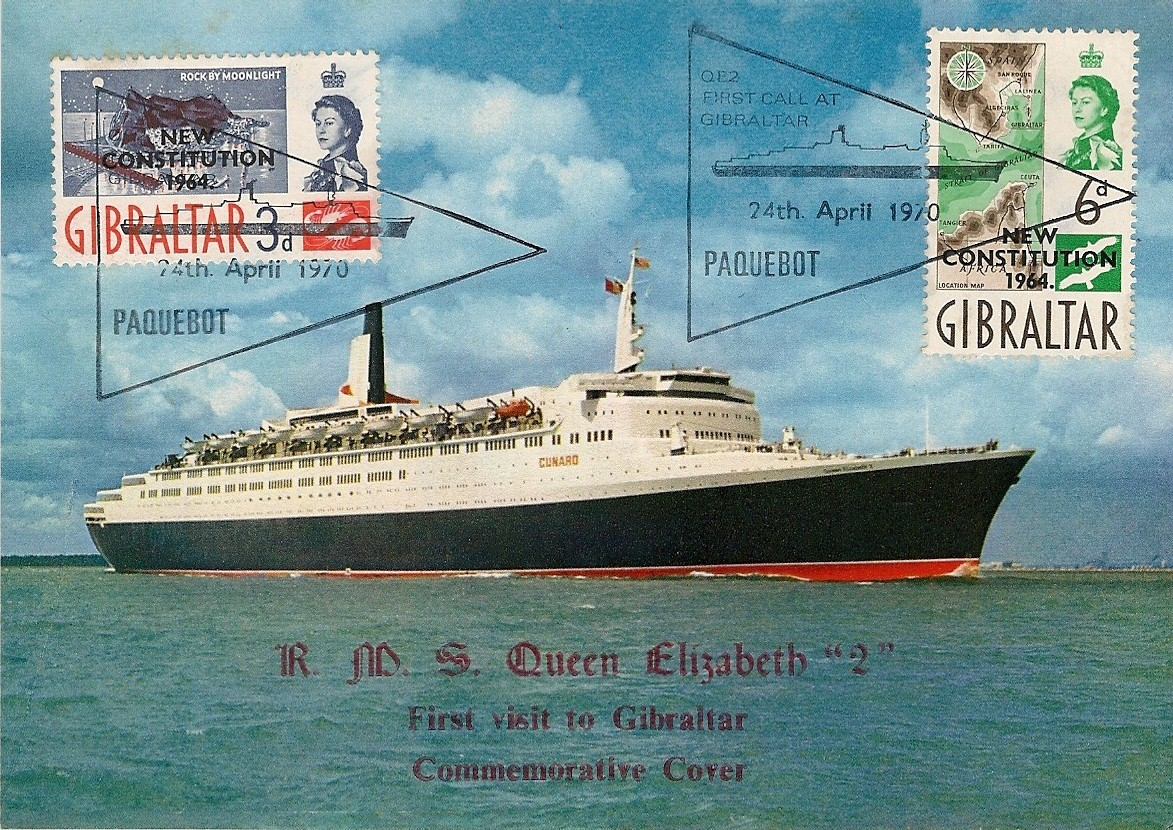 Philatelic tribute to QE2's first visit to Gibraltar, April 24, 1970