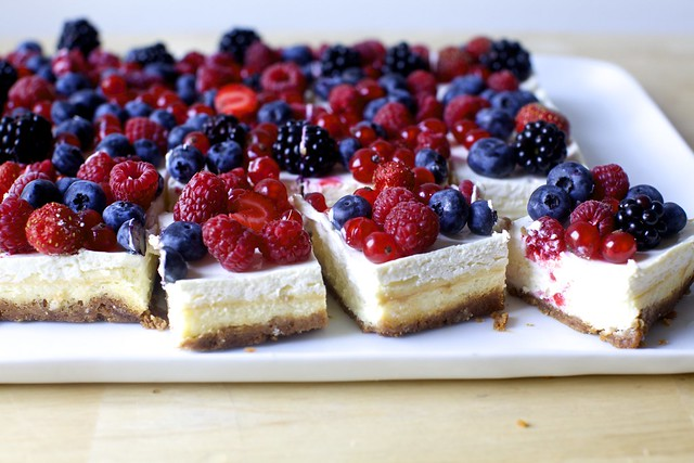 cheesecake bars with all the berries