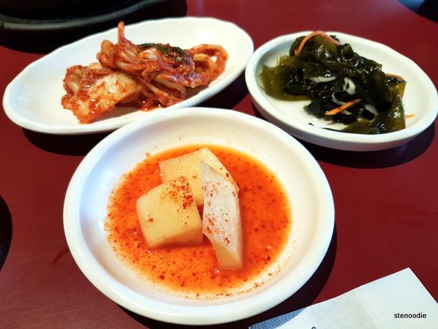 kimchi, pickled radish, pickled seaweed