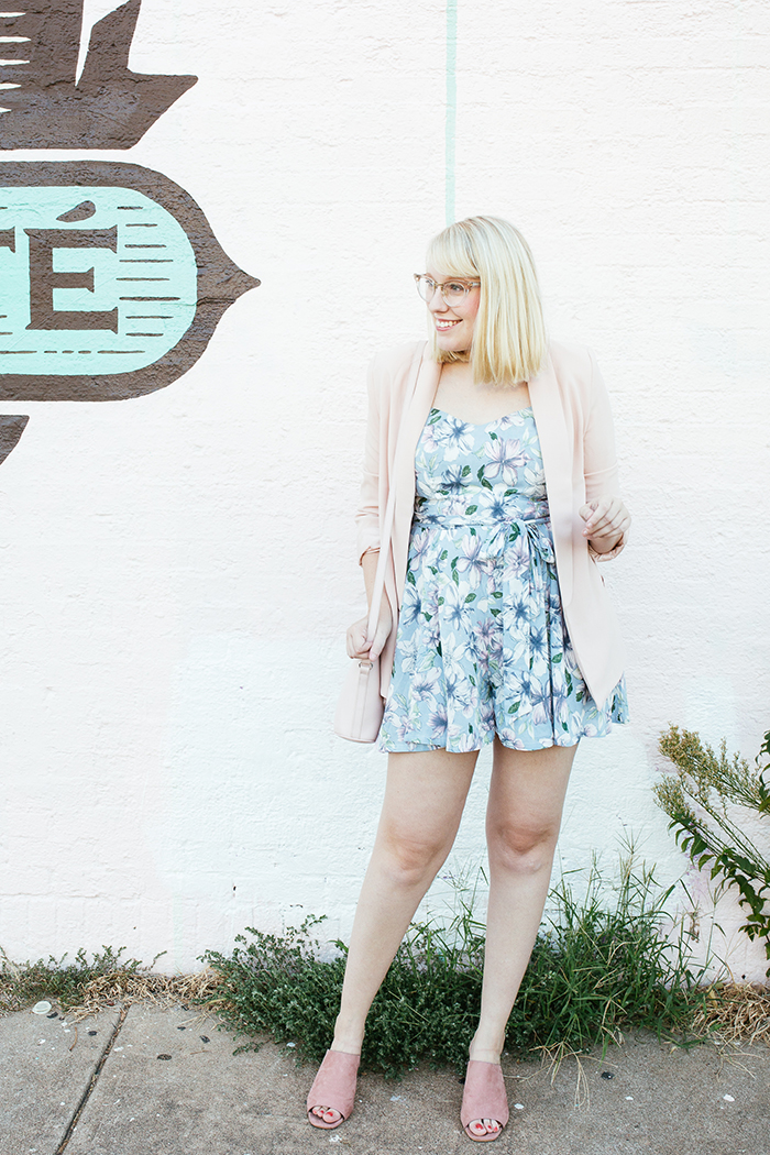 austin fashion blogger writes like a girl pastel floral romper blush blazer1
