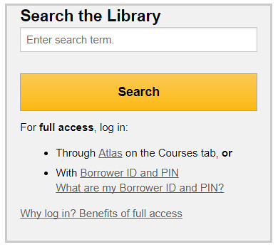 Library page login