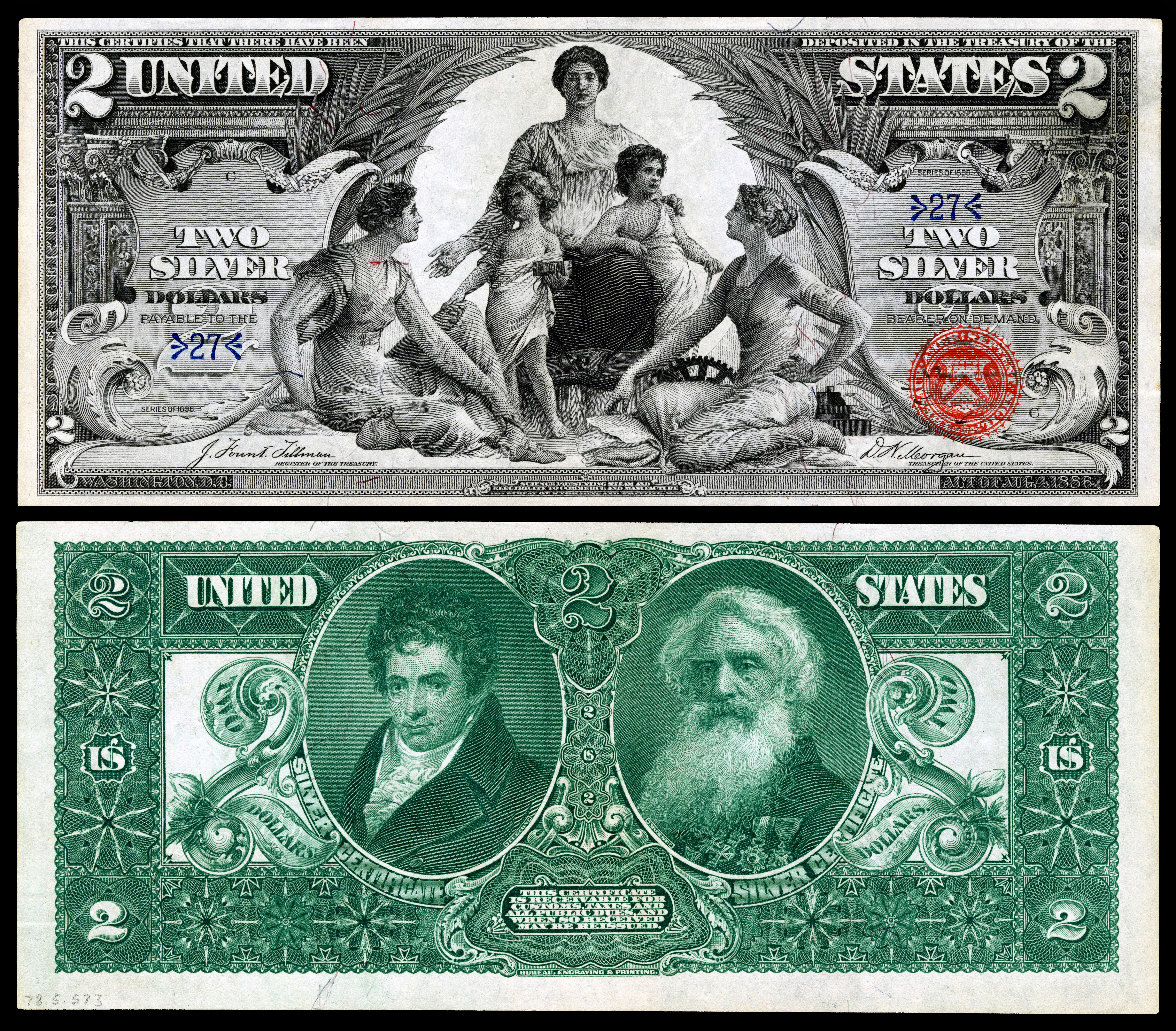 Robert Fulton (with Samuel F. B. Morse) depicted on the reverse of the 1896 $2 Silver Certificate from the United States Treasury