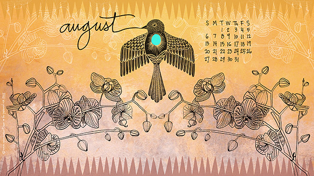 August 2017 desktop calendar