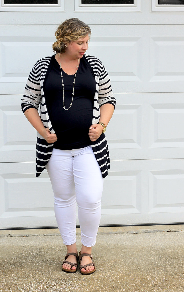 maternity white jeans, navy tee and navy stripe cardigan 5