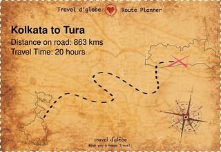 Map from Kolkata to Tura