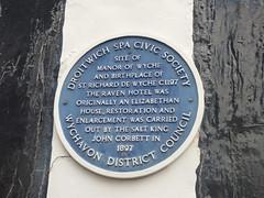 Photo of John Corbett, Richard de Wyche, and Raven Hotel blue plaque