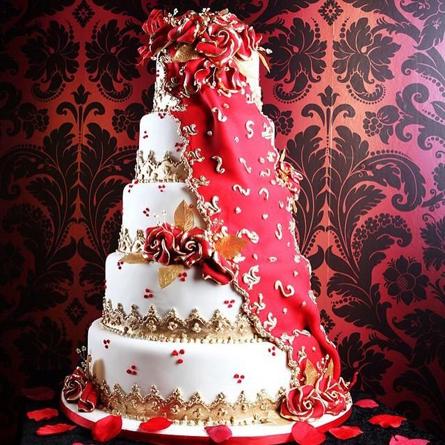 Bespoke Chunni Drape Wedding Cake by Asian Wedding Cakes