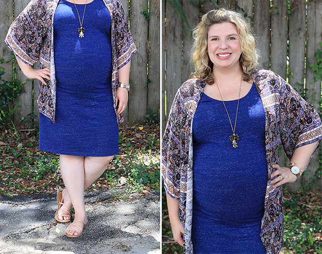 maternity blue dress, blue pattern kimono 1