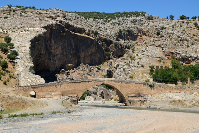 Cendere Bridge, a Roman bridge near the ancient city of Arsameia built by the Sixteenth Legion Flavia Firma after the emperor Septimius Severus had defeated the Parthians (before 211 AD), Turkey
