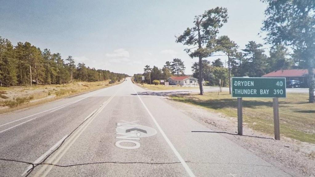 Dryden 50 km, Thunder Bay 390 km. #ridingthroughwalls #xcanadabikeride #googlestreetview #ontario