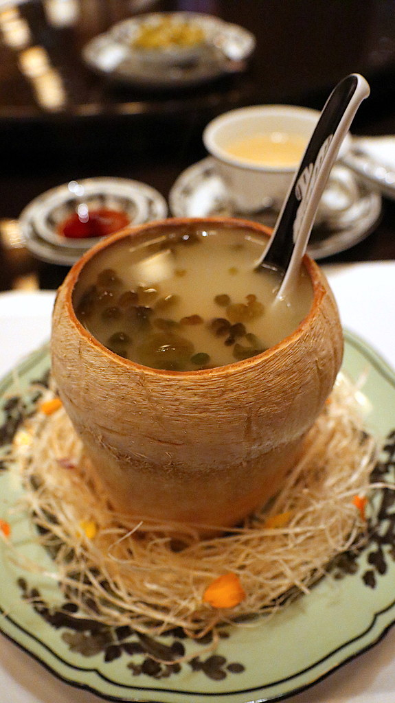 Double-boiled Chicken Soup, Sea Whelk, Soaked Nostoc Algae, Served in Whole Coconut