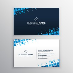 abstract business card with blue mosaic shapes