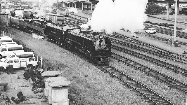 UP 844 and SP 4449 Doubleheading Black and White