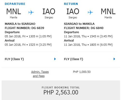Manila to Siargao Roundtrip Promo January 5 to 11, 2018