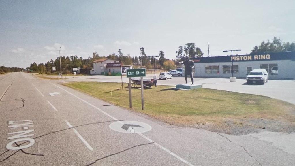 Sasquatch on Elm St, Vermillion Bay, ON. #ridingthroughwalls #xcanadabikeride #googlestreetview #ontario