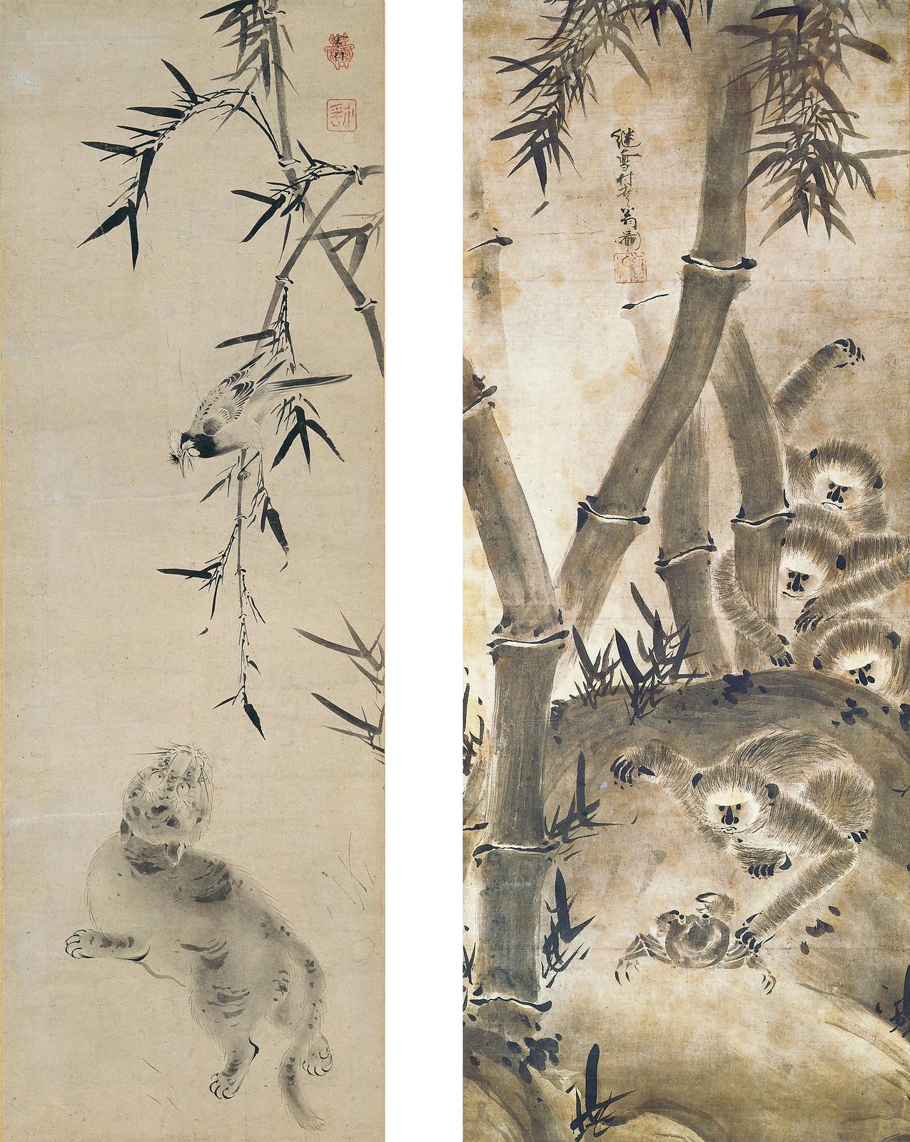 左)《猫小禽図》(室町時代、個人蔵、8月15日~) 右)《猿猴図》(室町時代、個人蔵、8月23日~)