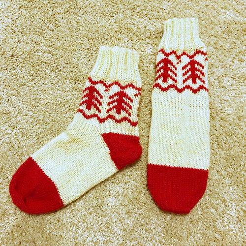 靴下 白×赤
