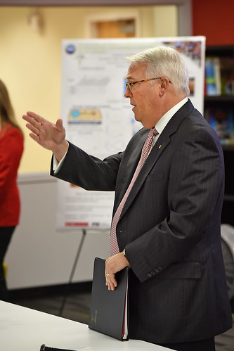 Chancellor Randy Woodson kicks off the Board of Governors' campus tour with a stop at the Advanced Self-Powered Systems of Integrated Sensors and Technologies (ASSIST) labs.
