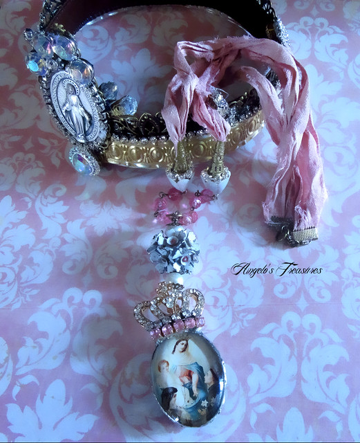 Our Lady of the Most Holy Rosary Sari Silk Ribbon Necklace