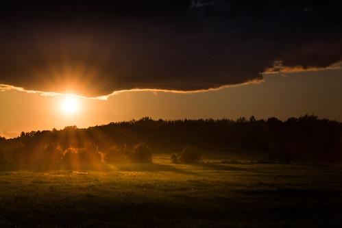 canoneos5dmarkiv ef100400mmf4556lisiiusm fairgrounds sunset atardecer sunbeams starburst midland mi michigan sundown tardes evening shadows clouds lining orange august summer verano