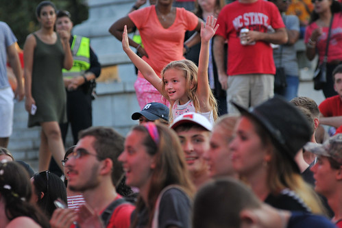 Young Packapalooza attendee cheers on the DJ.