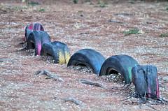 half tyres on the ground