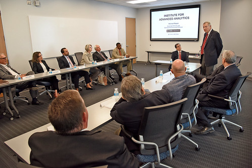 NC State alumnus and SAS co-founder Dr. Jim Goodnight talks about the Institute for Advanced Analytics during the Board of Governors' visit to IAA.